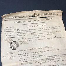 Acte 1795 Marque Généralité De Bretagne Bureau St Brieuc Régie Domaine National