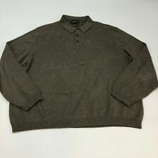 Eddie Bauer Polo Shirt Mens 2XL XXL Brown Long Sleeve Cotton Nylon Knit Casual