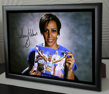 "Kelly Holmes Double Gold Medal Winner Framed Canvas Signed ""Great Gift/Souvenir"""