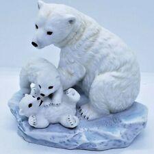 Homco Masterpiece Porcelain 1993 Polar Bear & Cubs Endangered Species Figurine