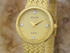 Elgin Swiss Made Ladies Gold Plated Luxurious 22mm Quartz Dress Watch DSI11