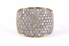 Fine Wide Cluster Diamond Pave Lady's Dome Cigar Ring Band 14k Rose Gold 3.00Ct