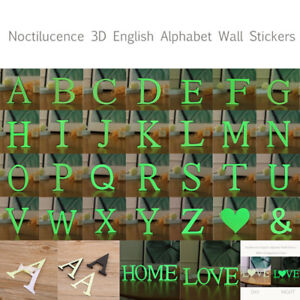 Night Glowing 3D 26 Individual Alphabet Letters Decor Acrylic Silver DIY
