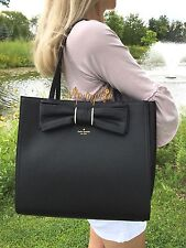 KATE SPADE ROSEWOOD PLACE VALENTIA LEATHER BAG BOW TOTE BLACK