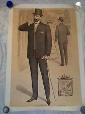 Rare Original French Antique High Life Men's Fashion Poster Ca. 1904