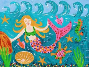 """Mermaid, Colourful, Mixed Media on Canvas 9"""" x 12"""" By Casimira"""