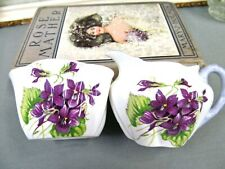 SHELLEY violets creamer and sugar holder  DAINTY Shape England set