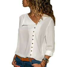 Women Office Long Sleeve T-Shirt Blouse Chiffon Shirt Tops