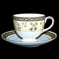 Wedgwood England Bone China India Pattern Leigh Shaped Tea Cup and Saucer Set