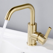 New Brushed Gold, Black Bathroom Faucet Single Hole Sink Basin Mixer Brass Tap
