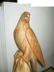 "Hand Carved Wood- Golden Eagle on Perch- 15"" Tall, By John Sinn, Ocala, FL"