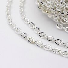 Silver Plated Oval Iron Cross Chain - 1m x 3mm x 2mm