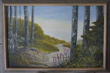 Fresh Air a woodland scene blue sky Original framed Art, Painting. Janet Davies