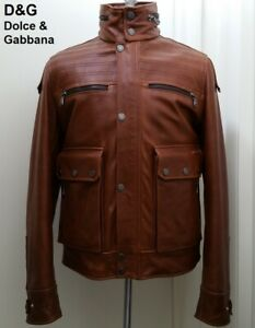 D&G Dolce & Gabbana leather jacket brown heavy bomber military utility new M NWT
