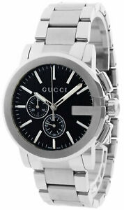 New GUCCI G-Chrono 44mm Black Dial Stainless Steel Men's Watch YA101204