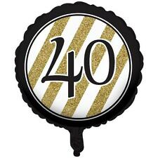 """40TH BIRTHDAY BLACK AND GOLD 18"""" ROUND FOIL BALLOON"""