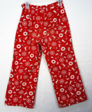 Vintage 60s Kids Novelty Print Pants 21x17 4T Red Anchor Nautical Sailor As-Is