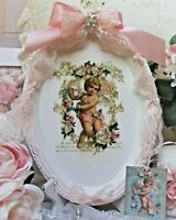 Shabby Chic Vintage French Country Decor. Serving Vanity Metal Tray Angel Roses
