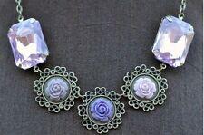 Filigree Necklace Beveled Crystal European Vintage Style Antique Brass