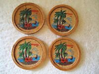 "Vintage Set Of 4 "" Hawaii "" Themed Wooden Cork Lined Coasters "" BEAUTIFUL SET """