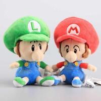 "2Pcs Super Mario Bros Run Baby Mario & Luigi Plush Toy Stuffed Animal Doll 6"""