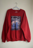 COCACOLA Red Sweater Size Large *see Measurements Logo Graphics Christmas Jumper
