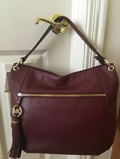 NWT Michael Kors Charm Tassel Top Zip Shoulder Bag, Bordeaux (Mahogany/Burgundy)