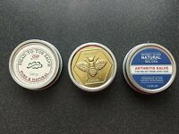 New 3 Salve Soap Butter Tins Natural Whibey Is,WA BeeBar Head-to-Toe Arthritis