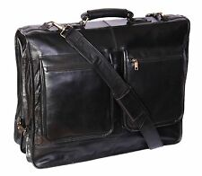 Luxury Real Leather Suit Carrier Black Business Travel Weekend Garment Dress Bag