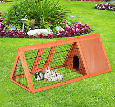 Triangle Rabbit Hutch Bunny Cage Chicken Coop Small Animal Poultry House w/ Run