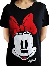 Minnie Mouse Face Disney Mickey Mini Official Black Womens T-shirt L
