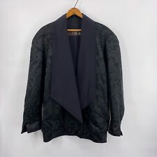Vintage ESCADA Margaretha Ley Oversized Black Floral Brocade Jacket Sz 36