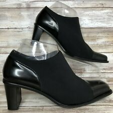 "Gabor Womens 7M Black Microfiber Leather Booties Square Cap Toe Square 2.5"" Heel"