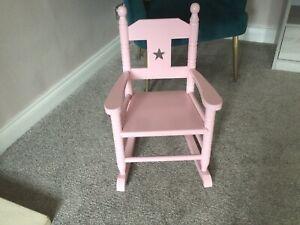 childrens pink wooden rocking chair