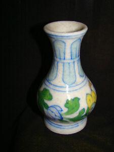 SMALL CERAMIC HANDPAINTED VASE, FAMOUS JAIPUR BLUE POTTERY HANDMADE INDIA