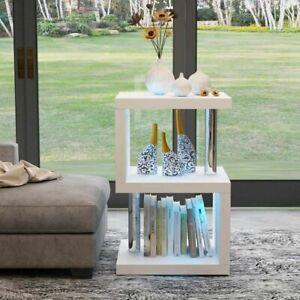 Coffee Table Modern White High Gloss LED  With Shelve Storage Living Room Modern