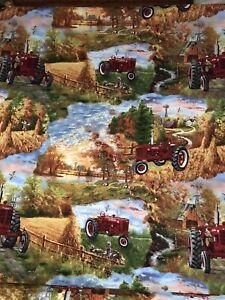 International, Farm all, Tractor, Farm print cotton fabric half yard