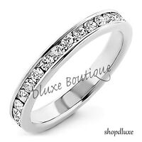 Women's Sterling Silver AAA CZ Eternity Anniversary Wedding Ring Band Size 5-11