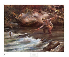 Trout Stream by James M Sessions Art Print Fly Fishing Fish Fisherman Poster