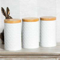 Set of White Round Geometric Tea Coffee Sugar Canisters Storage Jars Containers