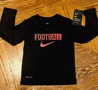 NWT Toddler Boys NIKE Football Shirt Size 3T 3 Long Sleeve Black Red DRI-FIT NEW