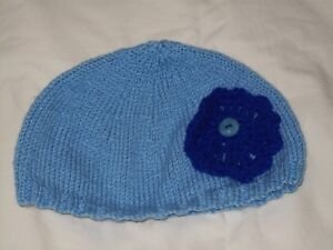 Ladies Hand Knit Pale Blue Beanie with Royal Blue Round Decoration - S - BNWOT