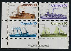 1976 Canada SC# 703a LL Inland Vessels Plate No.1 Black Color Shift M-NH # 2701c