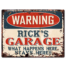 PPFG0193 WARNING RICK'S GARAGE Tin Chic Sign Home man cave Decor Funny Gift