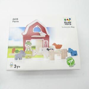 New Plan Toys Farm Sustainable Play Montessori Type Set # 6618 Barn Animals Wood