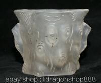 """4,4"""" Rare Ancien Chine Naturel Blanc Cristal Sculpté Dynastie Crayon Brosse Pot"""