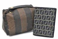 Authentic FENDI Pequin Zucchino Hand Bag Wallet 2sets PVC Canvas Leather  80414