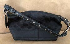 Coach Black Signature jacquard baguette bag purse black 42019 shimmer metallic