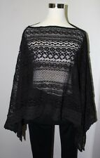 NEW Sol & Mer Women's Black - S/M-Lace Crochet Scarf Top Cover-up 100% Cotton