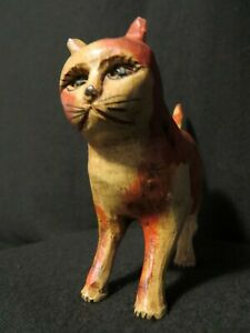 """Vintage Wood Carved Folk Art Standing Cat 5"""" Nose to Tail"""